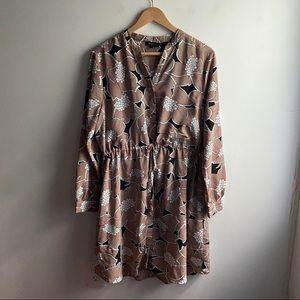 Selected Femme tan floral tie waist shirt dress